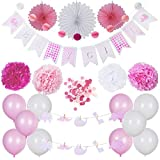 Baby Shower Decorations | It's a Girl | Baby Girl | Party Supplies Set | Pink/White | Hanging Banner Balloons Honeycomb Garland Paper Fans Pom Poms Confetti | Animal Theme | Indoor/Outdoor