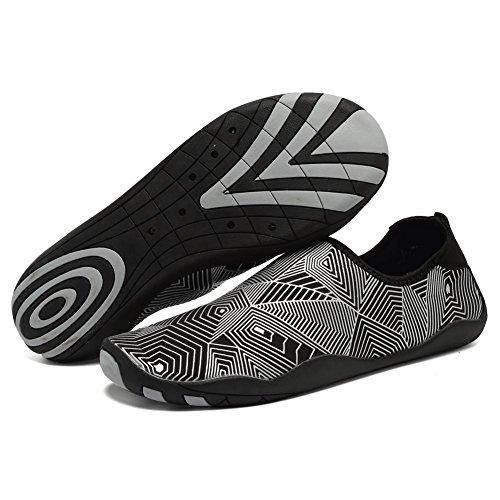 CIOR Männer Frauen Barfuß Quick-Dry Wasser Sport Aqua Schuhe mit 14 Drainage Löcher für Schwimmen, Walking, Yoga, See, Strand, Garten, Park, Fahren Z.silber