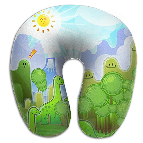 U-Shaped Pillow Neck Shoulder Body Care Cartoon Green Animals Health Soft U-Pillow For Home Travel Flight Unisex Supportive Sleeping by Godfery
