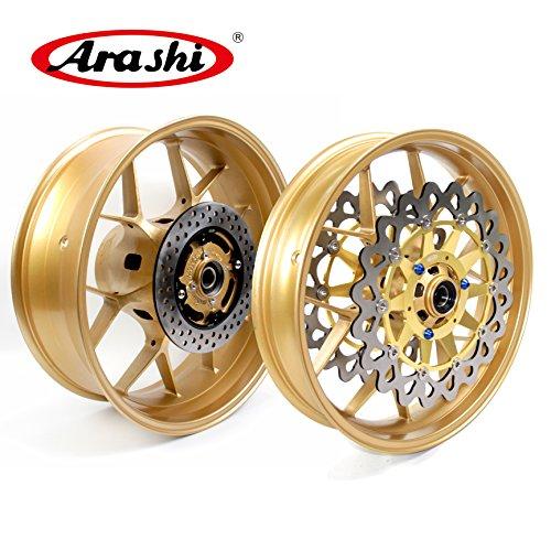 Arashi For Honda CBR1000RR Front & Rear Wheel Rim + Brake Rotors (Gold/Customized Color) CBR 1000 RR CBR1000 ABS Repsol SP 2006 2007 2008 2009 2010 2011 2012 2013 2014 2015 2016 Cbr 1000 Repsol