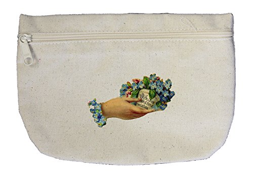 Canvas Pouch Zipper Love Fond Wishes Holding Flower Holidays By Style In Print