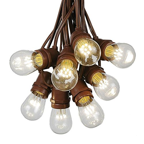 37.5 Foot S14 LED Edison Outdoor String Lights - Commercial Grade String Lights - Backyard Garden Gazebo – Cafe Market Light Set – Vintage Patio String Lights - Brown Wire - 25 S14 LED Bulbs by Novelty Lights