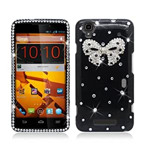 AIMO 3D Luxury Diamond Bling Case for ZTE N9520 Max [Boost Mobile] (White Bow Tie - Black)