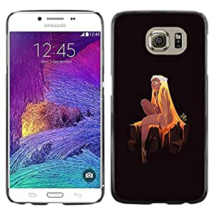 KLONGSHOP // Cubierta de piel con cierre a presión Shell trasero duro de goma Protección Caso - Princesa rubia - Samsung Galaxy S6 //
