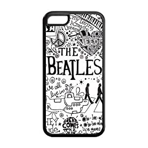 Popular Rock Band The Beatles Cover Case for iPhone 5C -(Black and White) -MZ5C00065