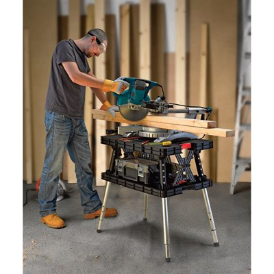 Portable Workbench - Keter Folding Work Table/Bench - 700-Lb. Capacity with Extendable Legs