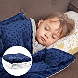 """Roore 5 lb Weighted Blanket for Kids I 36""""x48"""" I Weighted Blanket with Plush Minky Blue Removable Cover I Weighted with Premi"""