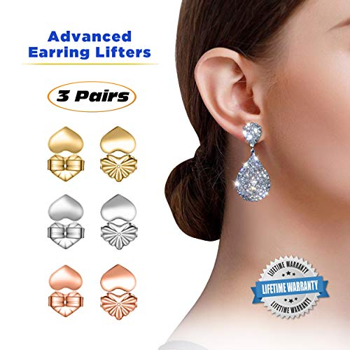 Advanced Premium Quality Earring Lifters | Back Lobe Ear Support | 3-Pair Set of Piercing Ear Lobe Back Lift | Sterling Silver, 18K Gold Plated and Rose Gold for Ear Lobe Reinforcement | Plus Bonus