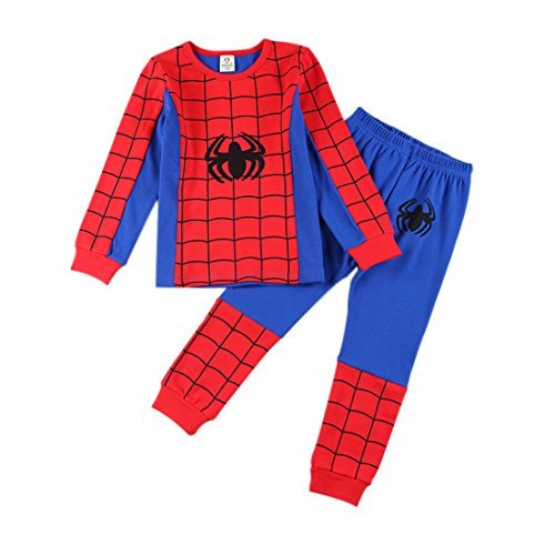 - Little little smile LLS Red Spider Boys Pants 2 Piece Pajama Set 100% Cotton,Size 2-7t (Red, 5t)