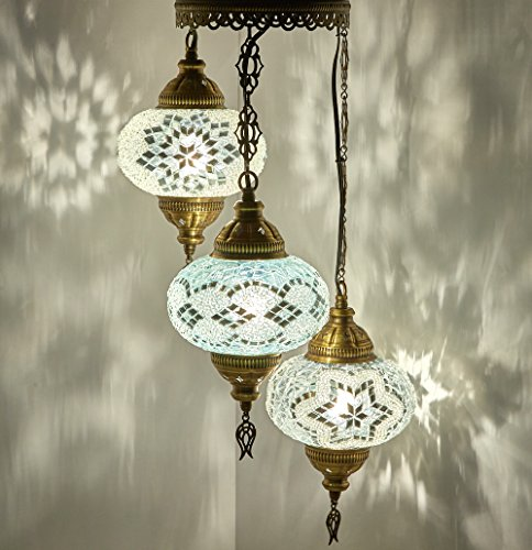 (DEMMEX Turkish Moroccan Mosaic Hardwired OR Swag Wall Plug in Chandelier Light Ceiling Hanging Lamp Pendant Fixture (3 X 6.5