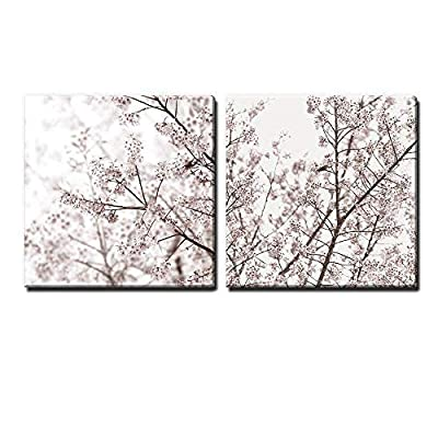 Incredible Composition, 2 Panel Square Cherry Blossom in Spring x 2 Panels, Quality Artwork