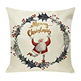 Pgojuni Cotton Linen Christmas Cushion Cover Square Pillow Case Decor Pillow Cases Sofa Cushion Cover 1pc (E)