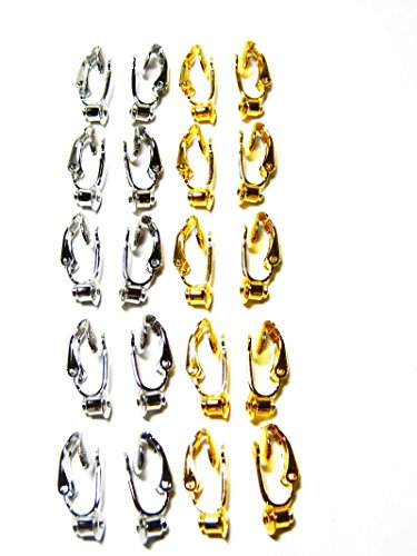 10 pair Gold Silver Earring Converters-Change Post style Pierced Earrings to Clip On