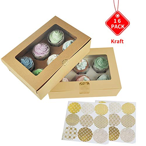 Bakery Cupcake Boxes and Cake Carrier - Pastry and White Cookie Box,6 Treat Holder Storage Boxes,Kraft Cake Box with Stickers and Window,Cup Cake Baking Cups,HUATK (16 kraft)