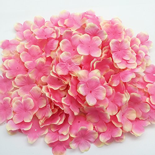 PEPPERLONELY Brand Pink & Yellow Fabric Flower 4 Petals, 1 OZ Approx.220PC + Flower Petals, 50mm (2 Inch)