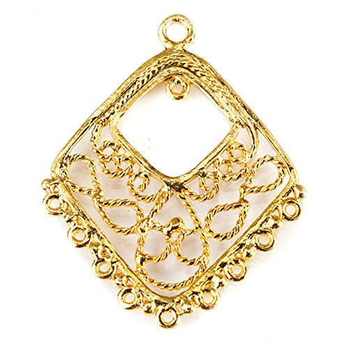(33x27mm Vermeil Chandelier Diamond Scrollwork Design with 10 Rings 1 Piece)