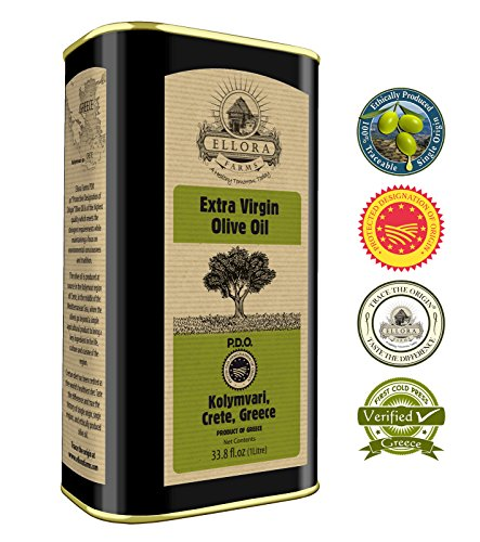 Ellora Farms | Certified PDO Extra Virgin Olive Oil | Single Variety Olives | Cold Extracted & Traceable Olive Oil | Born in Ancient Crete, Greece | Kosher | 1 Lt Tin, total 33.8 oz. (Olive Unrefined Oil)