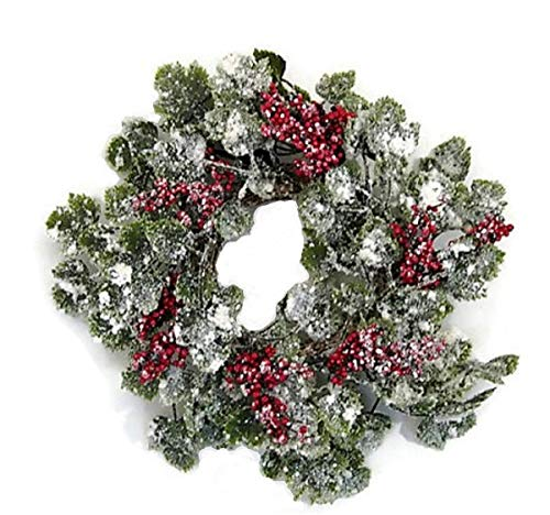 JMB Christmas Snow Covered Ivy Vine Wreaths, Garland, Candle Ring or Hurricane Centerpiece Buyer's Choice of Item and Size (14