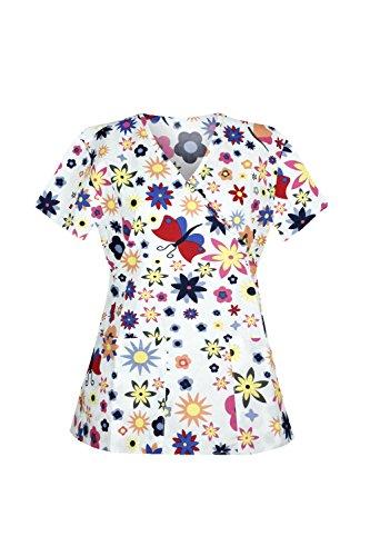 G Med Women's Printed Mock Wrap V Neck Back Tie 2 Pockets Scrub Top(TOP-MED,WHT-S)