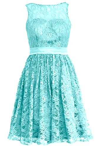MACloth Women Straps Lace Short Bridesmaid Dress Cocktail Party Formal Gown Turquesa