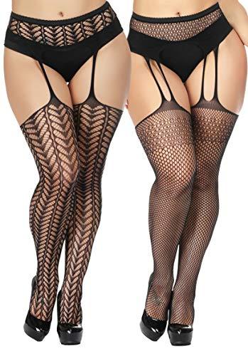 (TGD Womens Plus Size Stockings Suspender Pantyhose Fishnet Tights Black Thigh High Stocking 2 Pairs (Black 6976) )