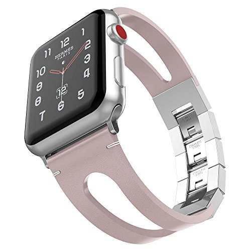 - for Apple Watch Band 38mm, UMTELE Vintage Leather Bracelet with Stainless Steel Folding Clasp for Apple Watch Series 3/2/1, Edition, Pink, Silver Clasp
