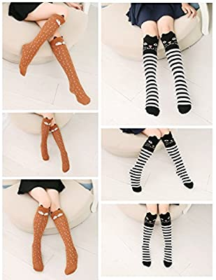 CISMARK Cartoon Animal Cat Bear Fox Cotton Over Calf Knee High Socks 6PCS