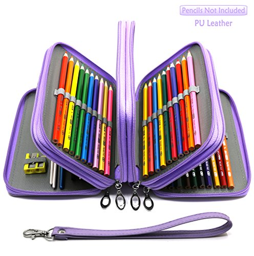 Travel Leather Cosmetic Brush Pen Holder (Purple) - 6