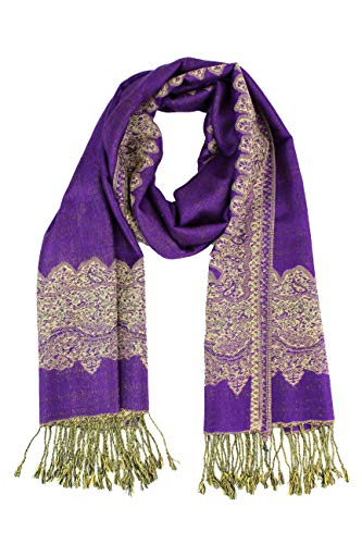 Silk Label Scarf Purple - Paskmlna Border Pattern Double Layered Reversible Woven Pashmina Shawl Scarf Wrap Stole (003#17purple),Large