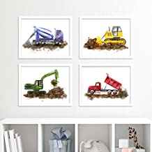 Construction Equipment Nursery Art Print Set, Set of 4 Prints of Trucks - Blue Cement Mixer, Green Excavator, Red Dump Truck and Yellow Bulldozer - Different Sizes Available