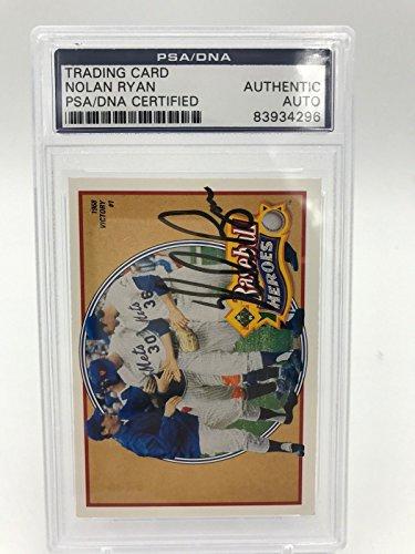 Nolan Ball Ryan (1990 Upper Deck Nolan Ryan Baseball Heroes Signed Autographed Baseball Card PSA)