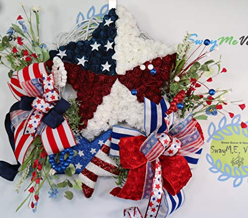 Patriotic Star Grapevine Wreath, Stars and Stripes, Independence Day Door Decor, July 4th Wall Decoration, Housewarming Gift, -