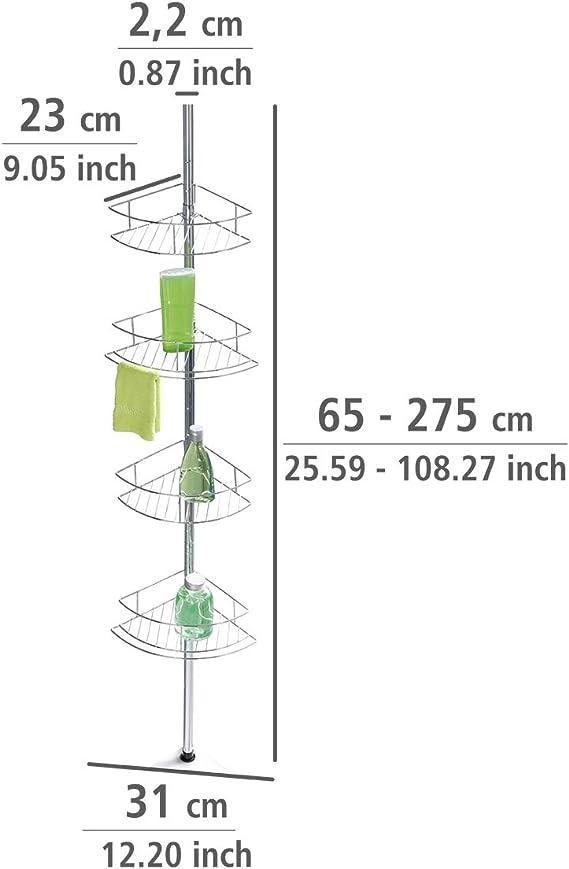 WENKO Estantería telescópica Dolcedo - corbeille extra haute 7 cm, Acero inoxidable, 31 x 65-275 x 23 cm, Brillante