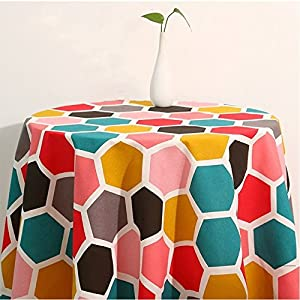 CrazyKitchenDecor Table Cover Geometric Style Plaid Table Cloth Canvas Tablecloth