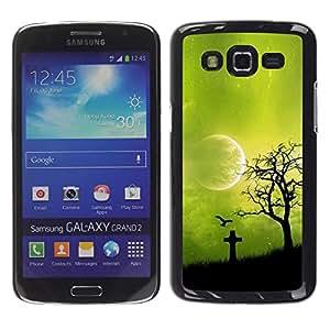 Be Good Phone Accessory // Dura Cáscara cubierta Protectora Caso Carcasa Funda de Protección para Samsung Galaxy Grand 2 SM-G7102 SM-G7105 // Night Green Moon