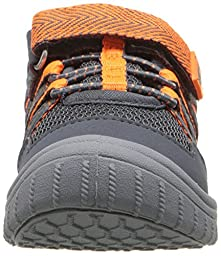 OshKosh B\'Gosh Domino Girl\'s and Boy\'s Bumptoe Sneaker, Grey/Orange, 9 M US Toddler