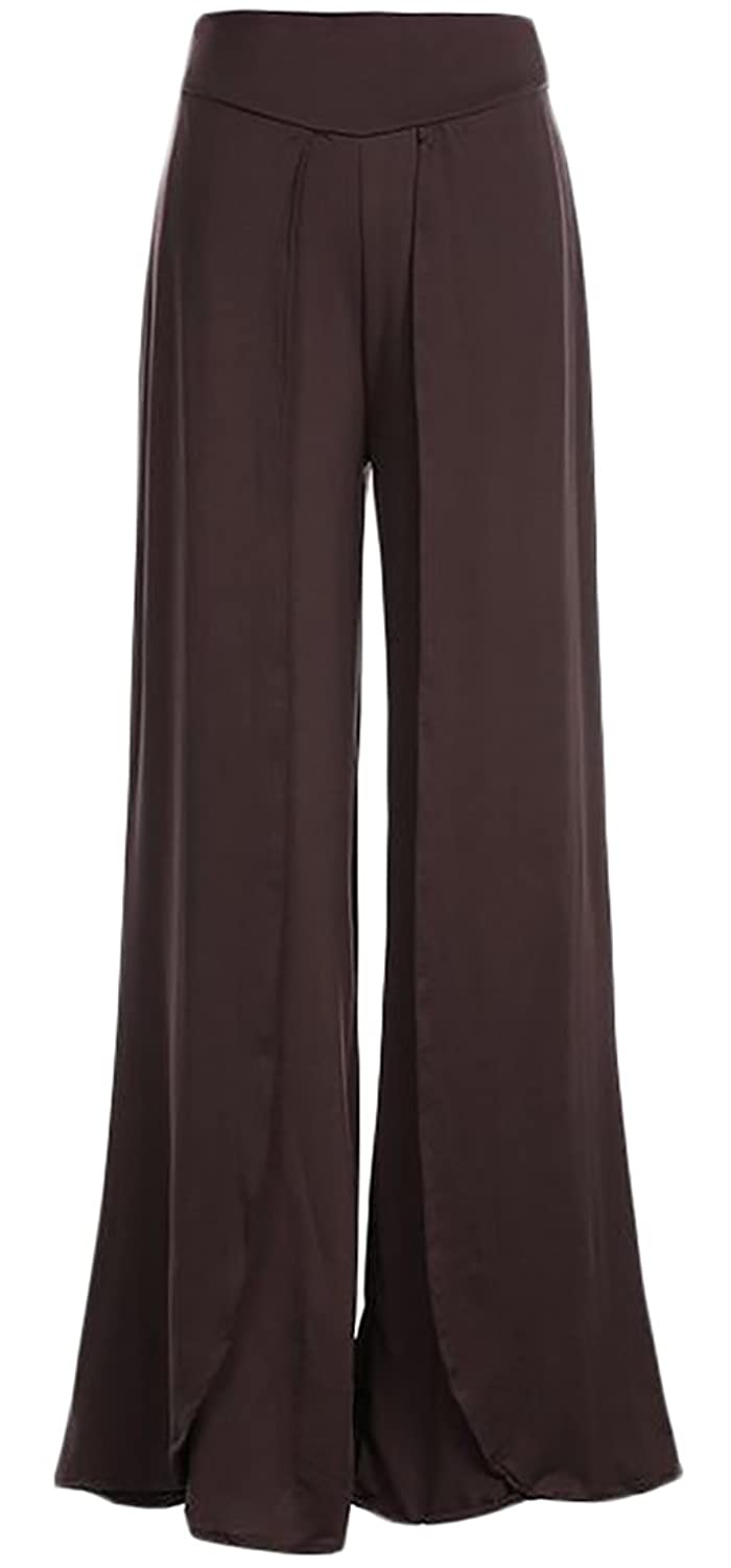 ainr Women's Sexy High Waist Loose Casual Cotton Solid Color Split Wide Leg Long Palazzo Pants