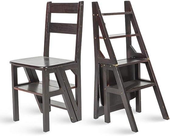 Sillas Plegables de Escalera de Tijera Hechas de bambú, Escalera de Madera Taburetes de Tijera Silla de Comedor multifunción, Estante Decorativo para el hogar o escaleras para Subir escaleras, Negro: Amazon.es: Hogar
