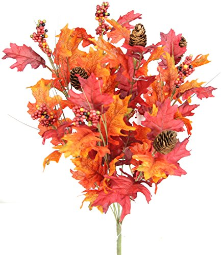 Admired By Nature GPB5417-BG_OR 4 Piece 9 Stems Home/Fall Wedding/Halloween/Thanksgiving Decoration Arrangement Artificial Maple Leaves/Pine Cone/Berries Foliage Bush, Burgundy/Orange -