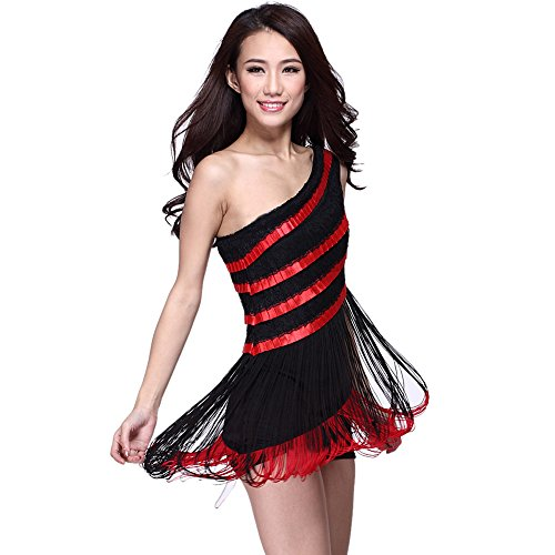 Latin Dance Trim Layers Dress Ballroom Tassels Skirt Competition Prom Wear black-red (Competition Dance Costume For Sale)
