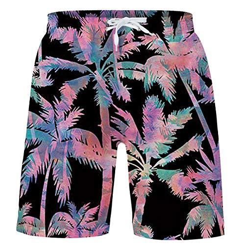 UNICOMIDEA Big Boys Swimsuits Funny Bathing Suits Seascape Swim Trunks 3D Colorful Printed Board Shorts Quick Dry Swimwear Adjustable Belt Swimwear with Both Side Pocket 14-16 Years Black