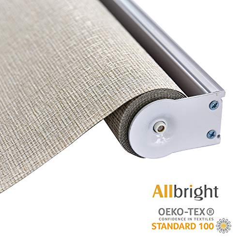"ALLBRIGHT Thermal Insulated Fabric 100% Blackout UV Protection Rialto Emboss Cordless Roller Shades for Windows, Easy to Install, Light Brown, 35""W x 72""H"