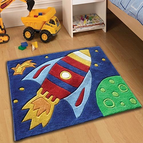 Childrens Play Rocket Rugs 70 X 100cm Perfect For Any Little Boys Room  Cheap And Affordable