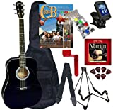 Chord Buddy Acoustic Guitar Beginners Package with Full Size Johnson JG-610 Bundle - Black