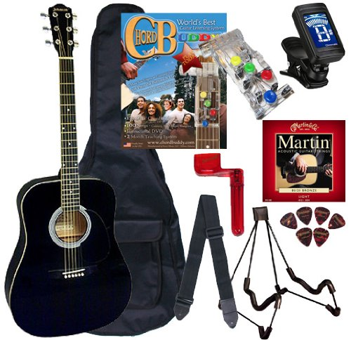 (Chord Buddy Acoustic Guitar Beginners Package with Full Size Johnson JG-610 Bundle - Black)