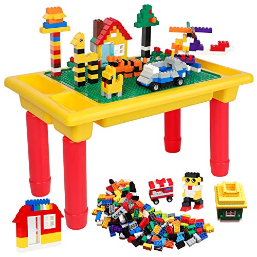 burgkidz 1000 PCS Building Bricks Come with Kids Block Activity Tray Toy and Building BasePlate, 3 in 1 Children Building Sets Toys Classic Educational Building Blocks