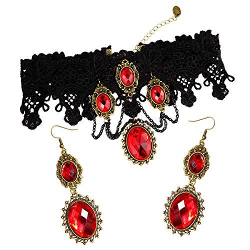 RareLove Lolita Red Rhinestone Teardrop Chandelier Dangle Earrings (Red Set)