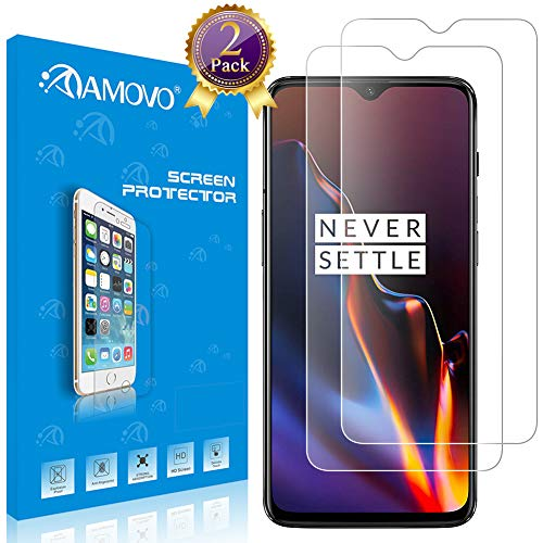 OnePlus 6T Screen Protector [2 Pack] AMOVO HD Clear Case Friendly Tempered Glass for OnePlus 6T [High Sensitivity] Anti Scratch Glass Protector for OnePlus 6T (OnePlus 6T, 2Pack)