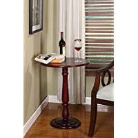 Kings Brand Furniture Cherry Finish Wood Round Side Accent End Table, Plant Stand