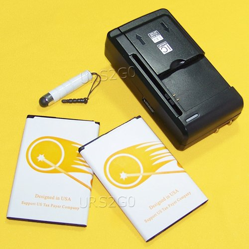 2x 2550mAh Replacement Standard Li-ion Battery Universal External Multi Function Charger Cellphone Stylus for Straight Talk/Tracfone/Net10 LG Rebel 3 LTE L158VL Android Phone by URS2GO